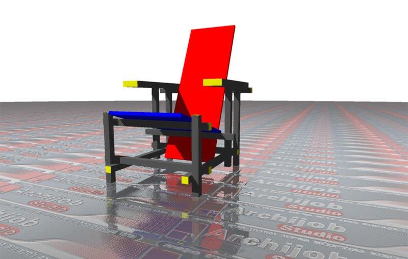 לימודי אוטוקאד תלת מימד - כסא ריטוולד